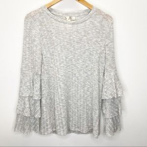 SALE 3/$20! Blu Pepper Gray Ribbed Bell Sleeve Top